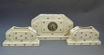 French Art Deco Pottery Clock Garniture ~ Moulin des Loups Hamage / NORMANDIE