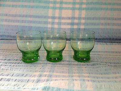 Lovely set of three green glass tumblers, delicate and stylish, very unusual
