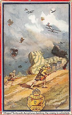 POSTCARD  MILITARY  WHIPPET  TANKS  With  Aeroplanes  bombing      TUCK