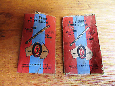 2 X Vintage Packets Of Wire Gauge Twist Drills - P & N 189 - Size 46 - Graphics