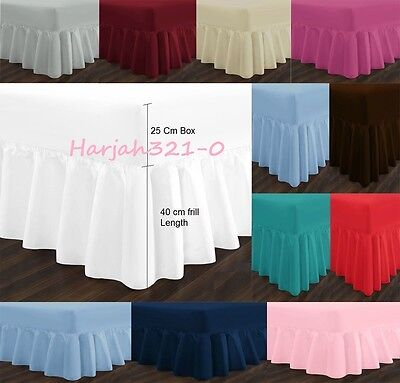 """Percale Frilled Fitted Valance Sheets Extra Deep 26"""" Single Double King 180TC"""