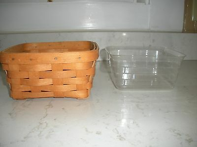 """Longaberger square basket with liner 7 1/4"""" X 7 1/4"""" X 3 1/2"""" NICE stamped"""