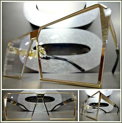 CLASSIC VINTAGE RETRO Style Flat Clear Lens EYE GLASSES Gold Metal Fashion Frame