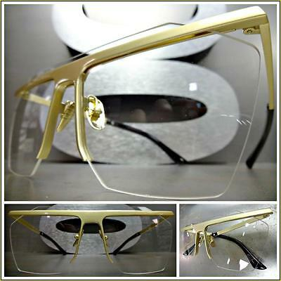 New CLASSIC VINTAGE Unique RETRO Style Clear Lens EYE GLASSES Gold Fashion Frame