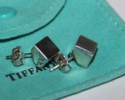 Authentic Tiffany & Co. Cube Square Sterling Silver Earrings Studs