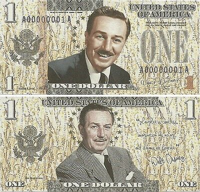 The United States - 1 Dollar - Fantasy Note - Walt Disney (2016)