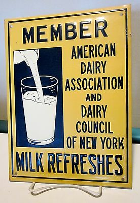 1950's American Dairy Assoc & Council Of NY Member Embossed Metal  Sign NOS