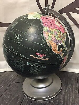 "Vtg Retro  REPLOGLE 12"" Starlight BLACK World GLOBE Black Ocean"