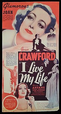 I Live My Life 1935 ORG Movie Poster Herald Joan Crawford, Vintage, Hollywood