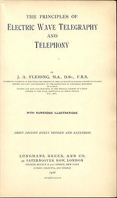 Early Wireless John Ambrose Fleming 1916 Radio Telegraphy Telephony 3Rd Edition