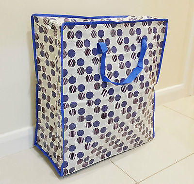 3 X Blue Spot Large Laundry/storage Shopping Bag Reusable Zipped Clothes