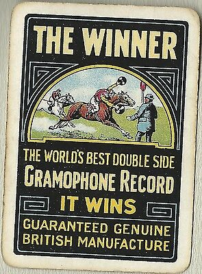 Vintage Swap Playing Cards   THE WINNER  Gramophone Record Advertising Card