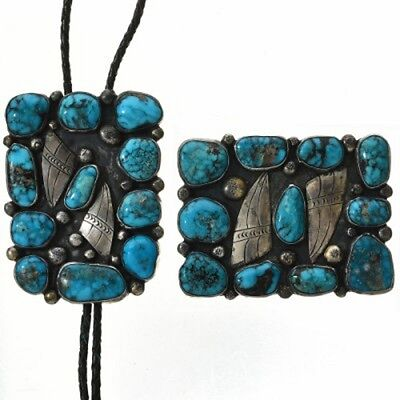 Vintage Pawn 1930s Navajo Sterling Silver Turquoise Belt Buckle Bolo Tie Set