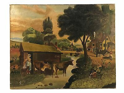 Antique 19th C Primitive Folk Art Country Farm House Small Town Oil Painting
