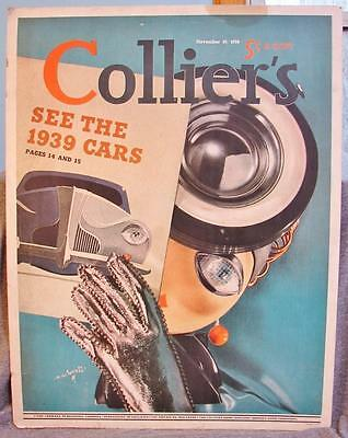 Vintage Nov 1938 Crowell Colliers Magazine Cover Cardboard Standup - 1939 Cars