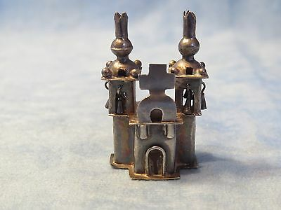 Antique Miniature Sterling Silver Church with Moving Bells