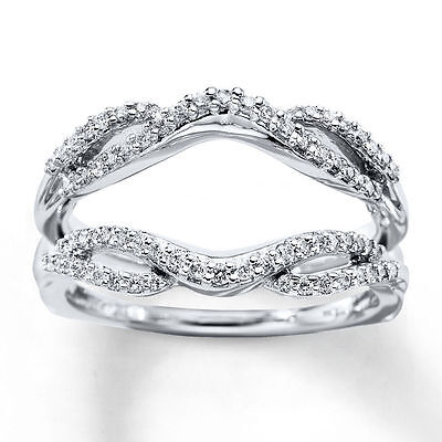 Diamond Solitaire Enhancer Engagement Ring 1/3ct Round Cut Guard 10K White Gold