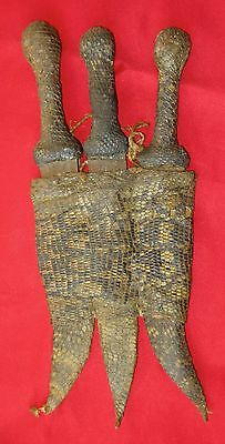 Old Three African Decorative Daggers with scabbard.