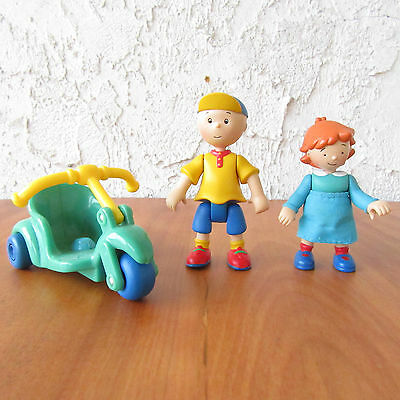 "Caillou & Rosie & Bike Figures PBS Kids Treehouse Kids 3"" Articulated Cinar"