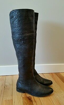 Gee Wawa Win Black Leather Riding Boots Women's Size 6.5