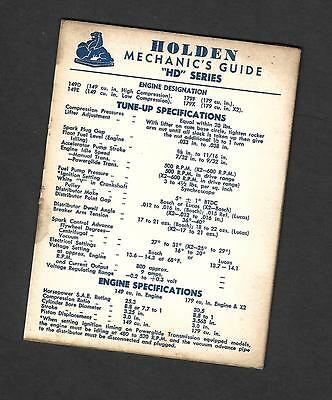 """Gmh 1965 Holden Mechanics Guide For """"hd"""" Series"""