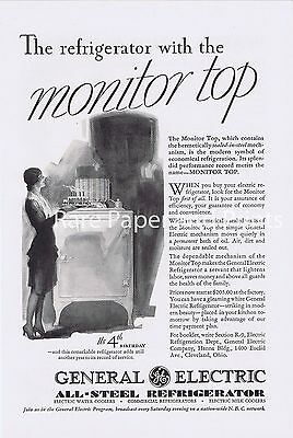 1930 General Electric GE Refrigerator Old And Original Antique Illustrated Ad