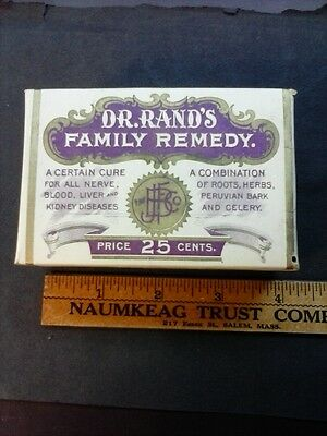 Dr. Rands Family REMEDY Medicine Box. advertising. Mt. Morris NY. pre 1906 cure