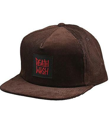 Deathwish Death Row Adjustable Size Snapback Hat (Brown Cord)