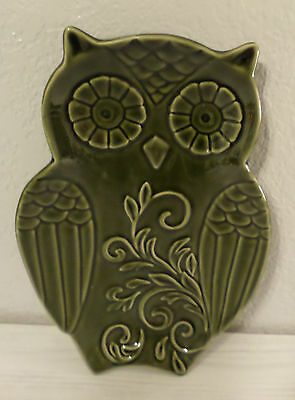 Green Owl Shaped Spoon Rest Ceramic Kitchen Stove Wall Table Dish Home Decor New