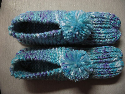 """NWOT Amish Handmade Knit Hs Slippers Turquoise Mix Womans Lg Mans Med 9 3/4"""""""