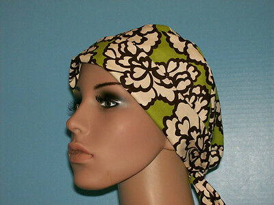 Lime Flowered Pixie Scrub Hat Cap Surgical Medical Chef Chemo