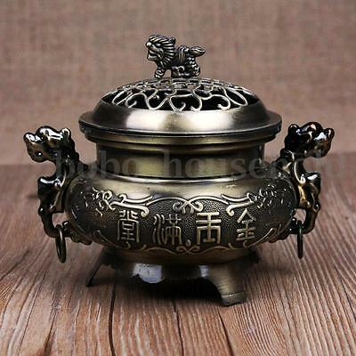 Incense Burner Alloy Double Dragon Hollow Cover Aromatherapy Censer Cone Holder