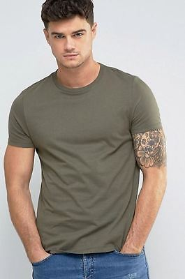 """ASOS Men's Crew Neck S/S T-Shirt Solid Green Size Large 40-42"""" New"""