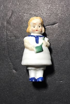 "Bisque Penny Doll Girl White Dress Blue Trim  1 5/8"" Tall"