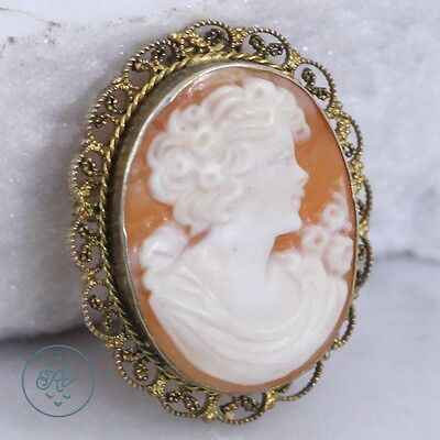 Vintage 800 Coin Silver - Gold Plate Carved Cameo 4.9g - Pendant Brooch GW2553