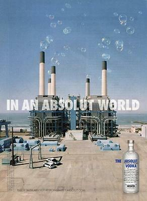 2007 Absolut Vodka Bottle Print Ad -Absolut World-Bar Ad-Ready To Frame-Bubbles