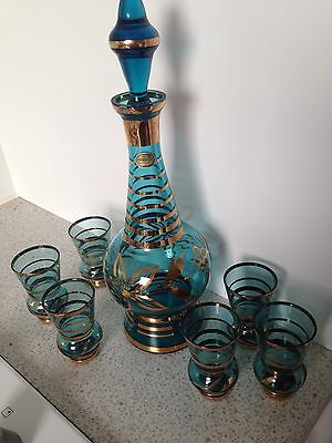 Vintage Bohemian Glass Decanter / Bottle Aqua Blue