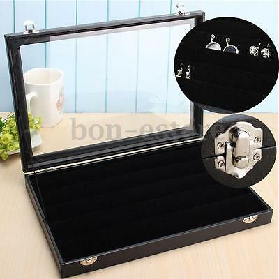 Lockable Jewelry Earring Ring Pin Display Tray Velvet Holder Case  Glass Top Box