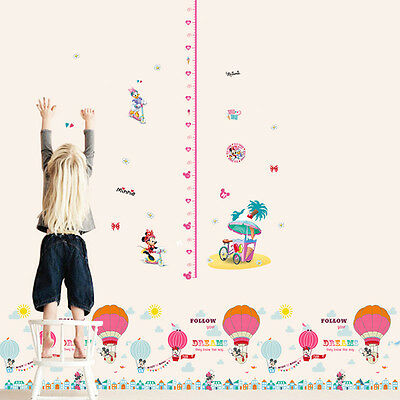 Minnie Mickey Mouse Height Measure Skirting Art Vinyl Wall Sticker Decal Decor