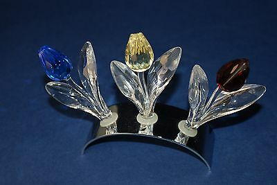 Swarovski Silver Crystal Limited Edition Renewal Tulips & Stand Perfect Retired