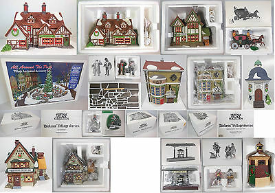 Dept 56 Dickens Village Collection #4, Qty 13 Items, 4 Buildings & 9 Accessories