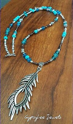 Ocean Blue ♡ Mala Beads Meditation Peacock Feather Pendant Turquoise Necklace
