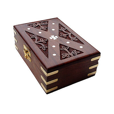 Exotic Hand Carved Velvet Inside Rectangle Wooden Jewelry Box