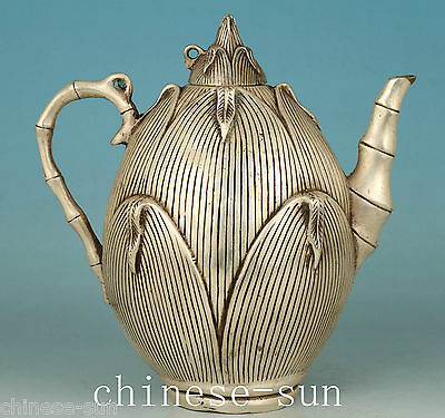 Tastefully Chinese Old Copper silver Hand Carving bamboo shoot Statue Tea pot