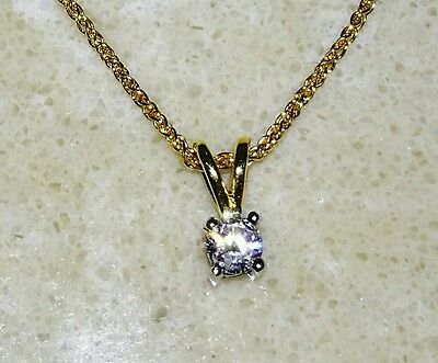 18ct Yellow Gold 16 inch 0.15ct Diamond Solitaire Necklace