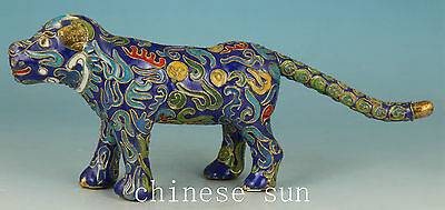 Rare Chinese Old Cloisonne Handmade Carving Tiger Collect Statue Figure