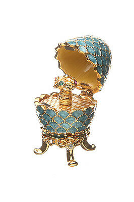 Decorative Faberge Egg Pinecone with Bouquet of Flowers 1.5'' (3.8cm) light blue