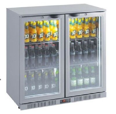 Brand New Under Bench 208L Silver 2 Door Display Bar Fridge