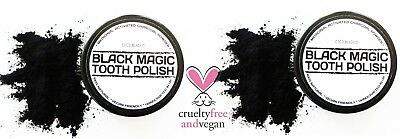 2 x BLACK MAGIC ACTIVATED CHARCOAL TOOTH POLISH * REGISTERED MEDICINAL GRADE