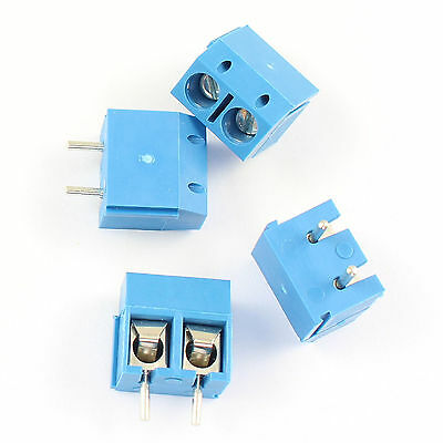 5 Pcs Blue 5mm Pitch 2 pin 2 way PCB Screw Terminal Block Connector